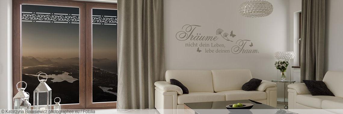 Stilvolle und elegante gestaltungsideen mit klebefolien - Wandspruche wohnzimmer ...
