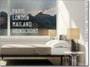Preview: Glasdekor mit Text Paris London Mailand Wunschort