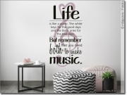 Preview: Buntes Wandtattoo mit Spruch Life is like a piano