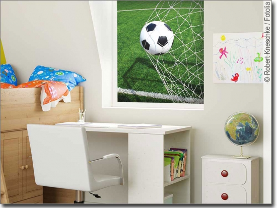 Fotofolien f r glas mit sportmotiven for Fussballtor kinderzimmer