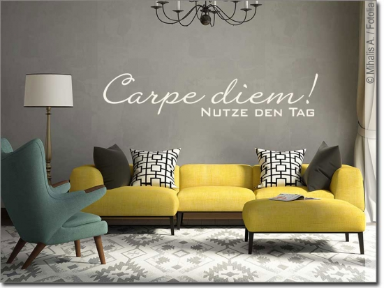 wandtattoo carpe diem wandspruch nutze den tag. Black Bedroom Furniture Sets. Home Design Ideas