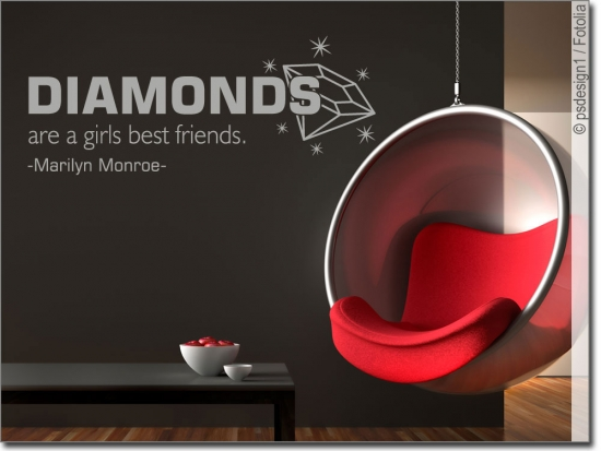 wandtattoo diamonds zitat von marilyn monroe. Black Bedroom Furniture Sets. Home Design Ideas