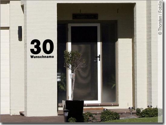Hausnummer mit wunschname for Poolaufkleber aussen