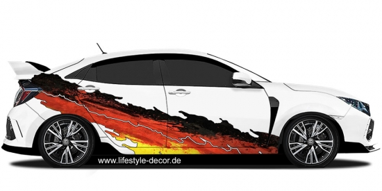 Autoaufkleber Flammendekor Mehrfarbig