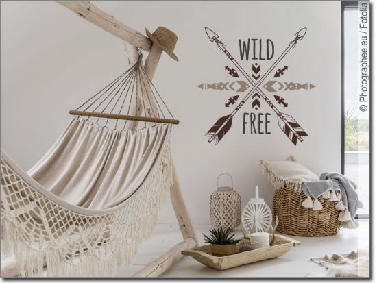 Buntes Wandtattoo Wild and Free