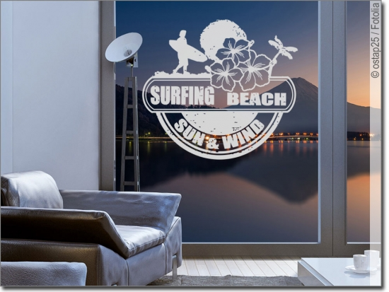 Fenstertattoo Surfing Beach