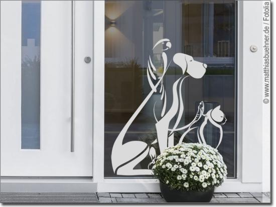 fensteraufkleber mit tiermotiven zur glas dekoration. Black Bedroom Furniture Sets. Home Design Ideas