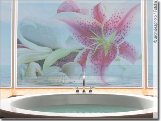 glasfolie glasdesign mit lilie selbstklebende folie. Black Bedroom Furniture Sets. Home Design Ideas