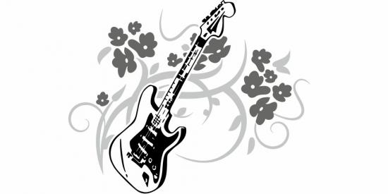 Bunter Autoaufkleber mit Rock Love Gitarre als Motiv