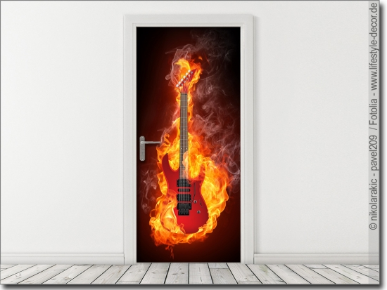Türposter Electric Guitar in fire