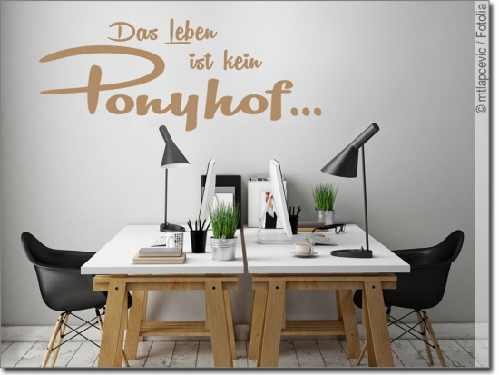 wandspruch das leben ist kein ponyhof wandsticker. Black Bedroom Furniture Sets. Home Design Ideas