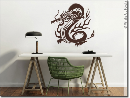wandtattoo drache fluitare wandsticker drache. Black Bedroom Furniture Sets. Home Design Ideas
