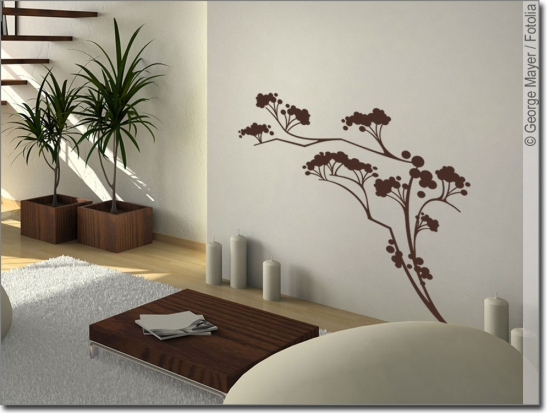wandtattoo japanischer strauch wandaufkleber. Black Bedroom Furniture Sets. Home Design Ideas