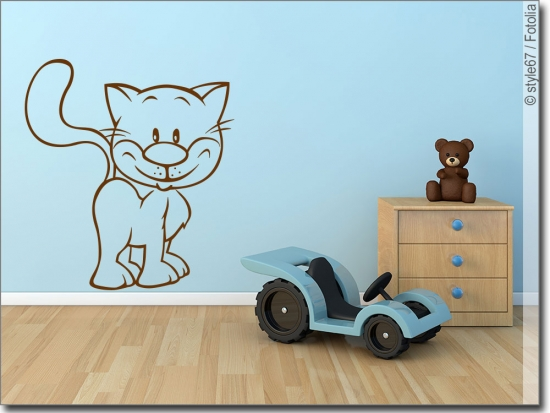 wandtattoo katze katzen aufkleber f r die wand. Black Bedroom Furniture Sets. Home Design Ideas