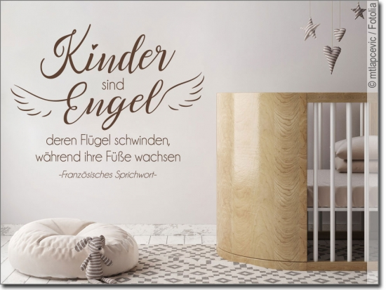 wandtattoo spruch kinder sind engel kinderaufkleber. Black Bedroom Furniture Sets. Home Design Ideas
