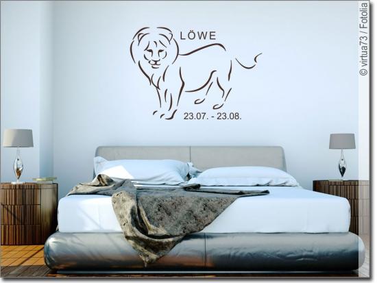wandtattoo sternzeichen l we aufkleber f r die wand. Black Bedroom Furniture Sets. Home Design Ideas