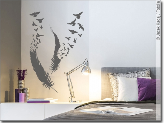 wandtattoo v gel aus feder f r das schlafzimmer. Black Bedroom Furniture Sets. Home Design Ideas