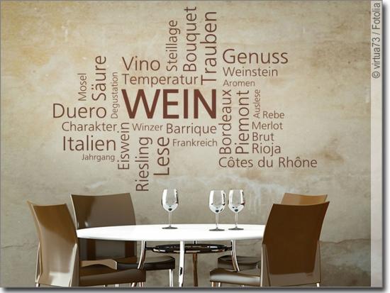 Wandtattoo Mit Unterschiedlichen Weinsorten