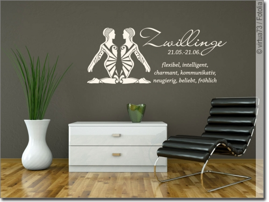 wandtattoo sternzeichen zwillinge wandaufkleber. Black Bedroom Furniture Sets. Home Design Ideas
