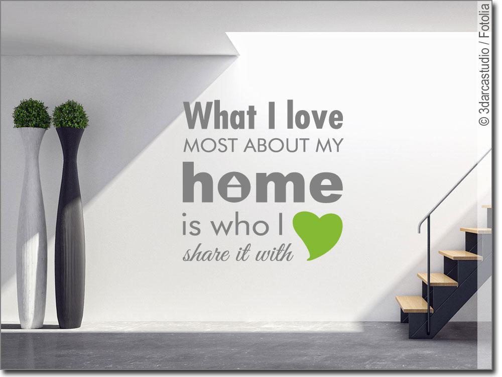 wandspruch what i love zweifarbiges wandtattoo. Black Bedroom Furniture Sets. Home Design Ideas