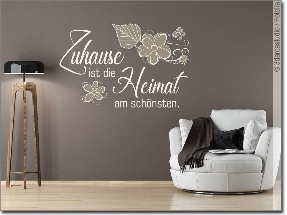 wandtattoo spruch zuhause ist die heimat am sch nsten. Black Bedroom Furniture Sets. Home Design Ideas
