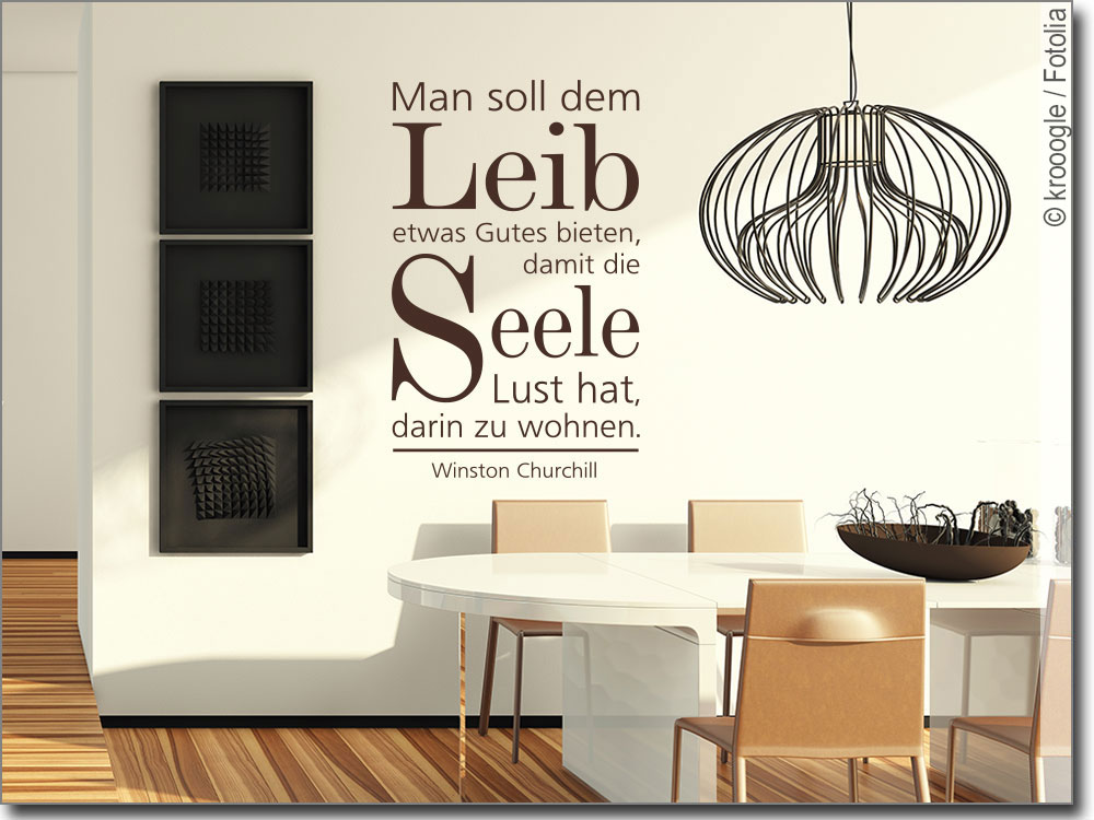 wandtattoo man soll dem leib zitat von churchill. Black Bedroom Furniture Sets. Home Design Ideas