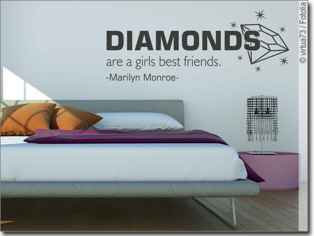 wandtattoo diamonds zitat von marilyn monroe. Black Bedroom Furniture Sets. Home Design Ideas