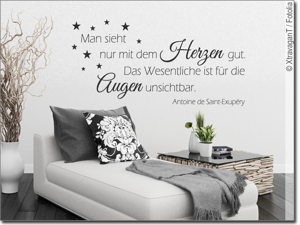 wandtattoo man sieht nur mit dem herzen wandzitat. Black Bedroom Furniture Sets. Home Design Ideas