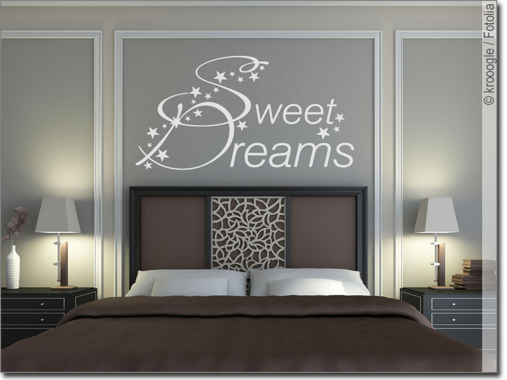 wandtattoo schlafzimmer sweet dreams wandsticker. Black Bedroom Furniture Sets. Home Design Ideas