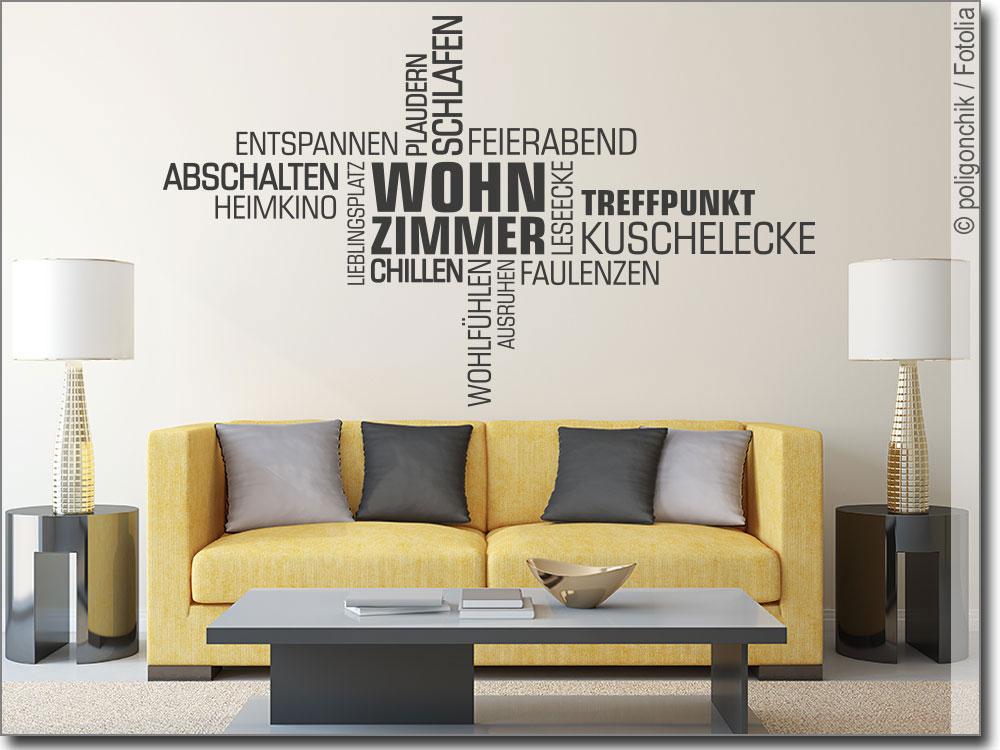 Wortwolke Wohnzimmer | Schönes Wandtattoo für Ihr Zuahuse