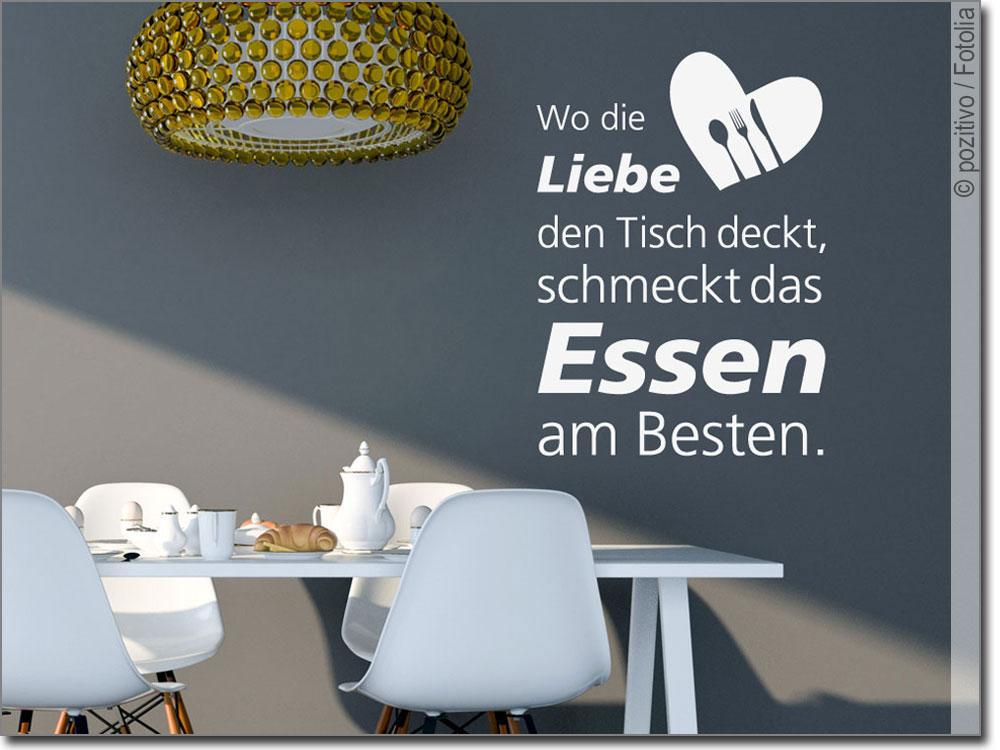 Spruch Wo Die Liebe Den Tisch Deckt Wandtattoo Essen