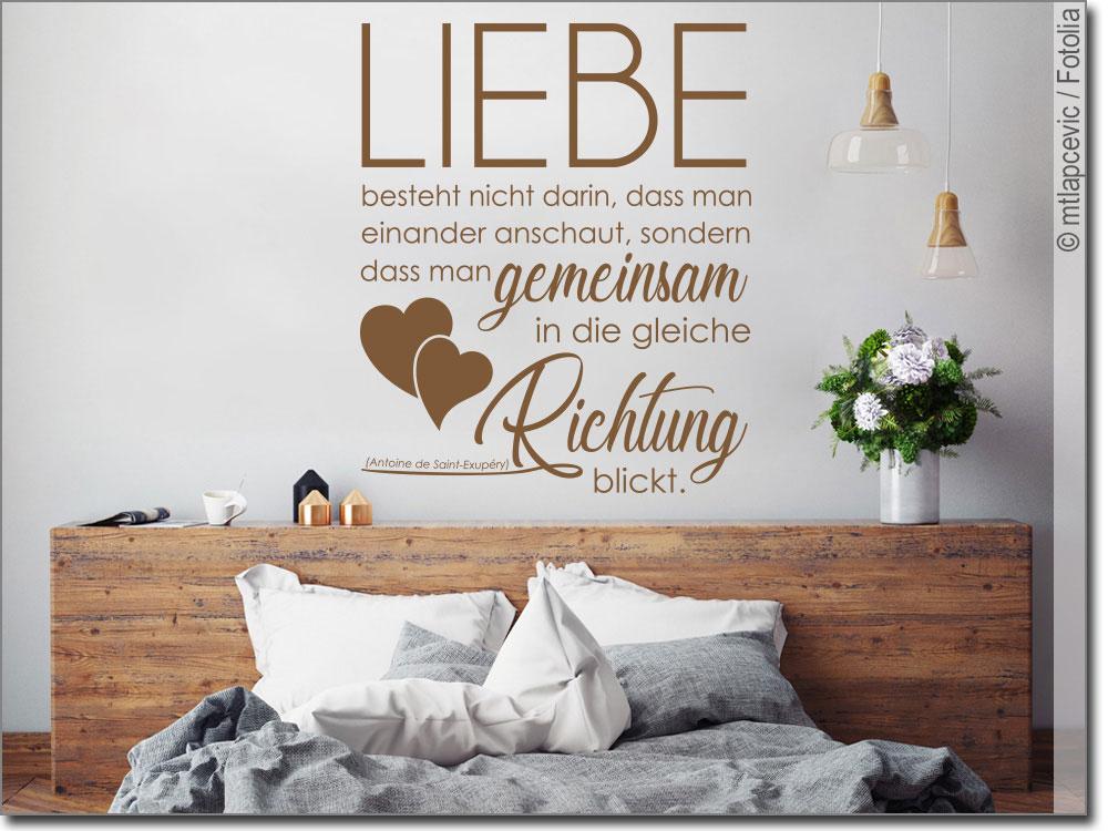 wandzitat liebe besteht von antoine de saint exup ry. Black Bedroom Furniture Sets. Home Design Ideas