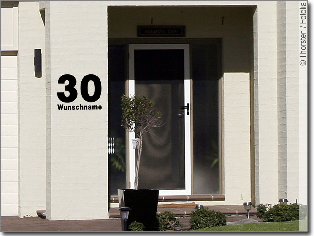 hausnummer mit wunschname. Black Bedroom Furniture Sets. Home Design Ideas