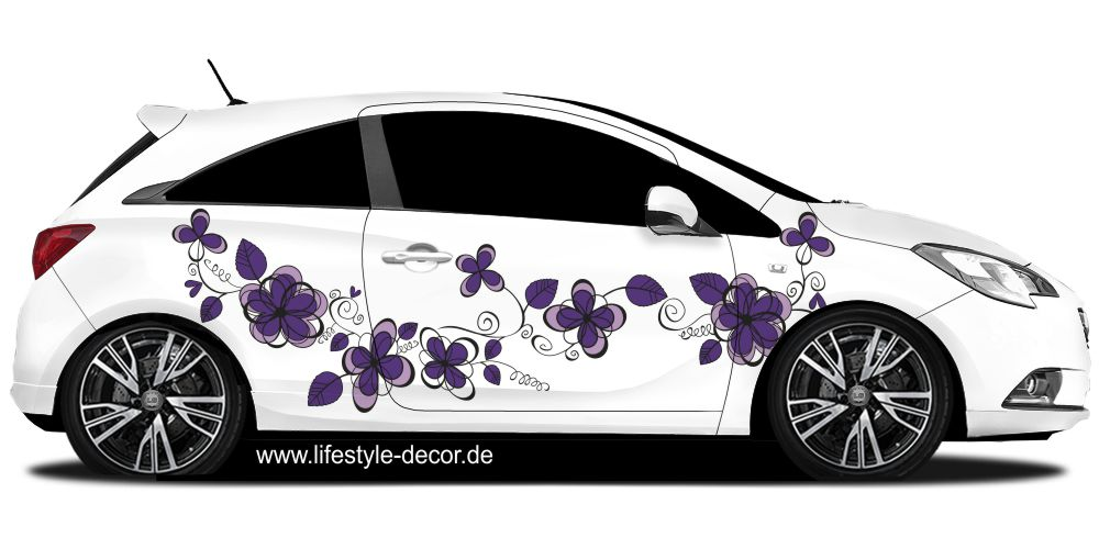 Autoaufkleber Buntes Ornament Mit Blumen