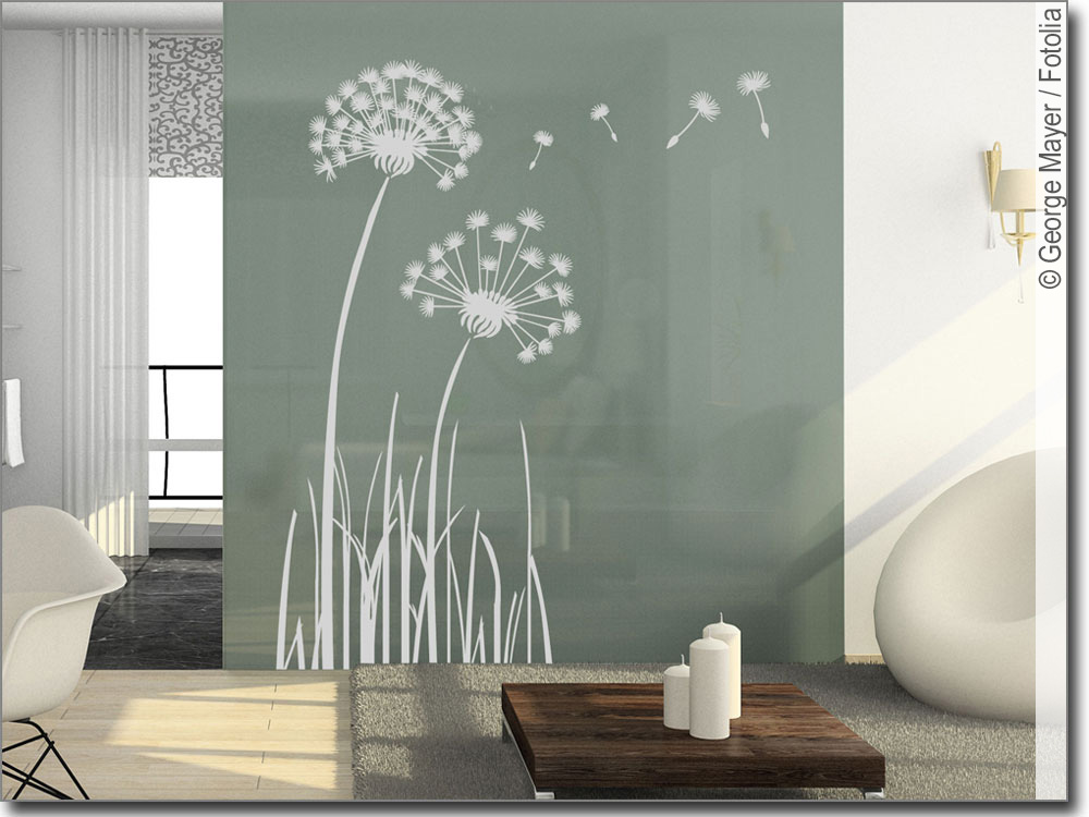 Fensteraufkleber pusteblume selbstklebende glasfolie for Glas klebefolie