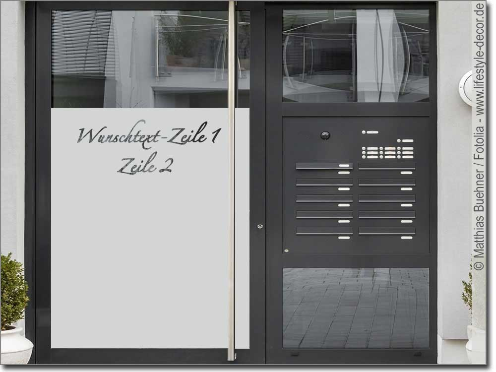 fensterfolie sichtschutz mit wunschtext 3 glasdekor. Black Bedroom Furniture Sets. Home Design Ideas