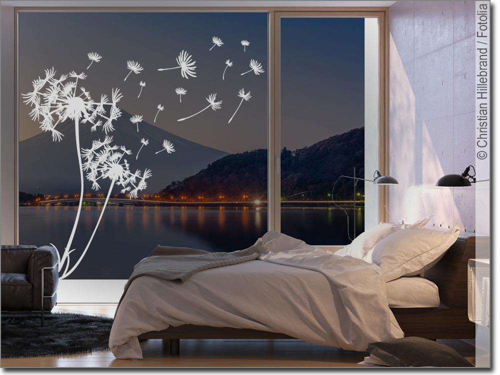 Fenstertattoo Pusteblume im Wind
