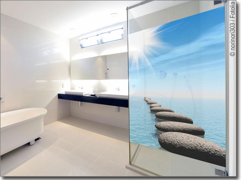 glasprint erholung sichtschutzfolie mit steinen. Black Bedroom Furniture Sets. Home Design Ideas