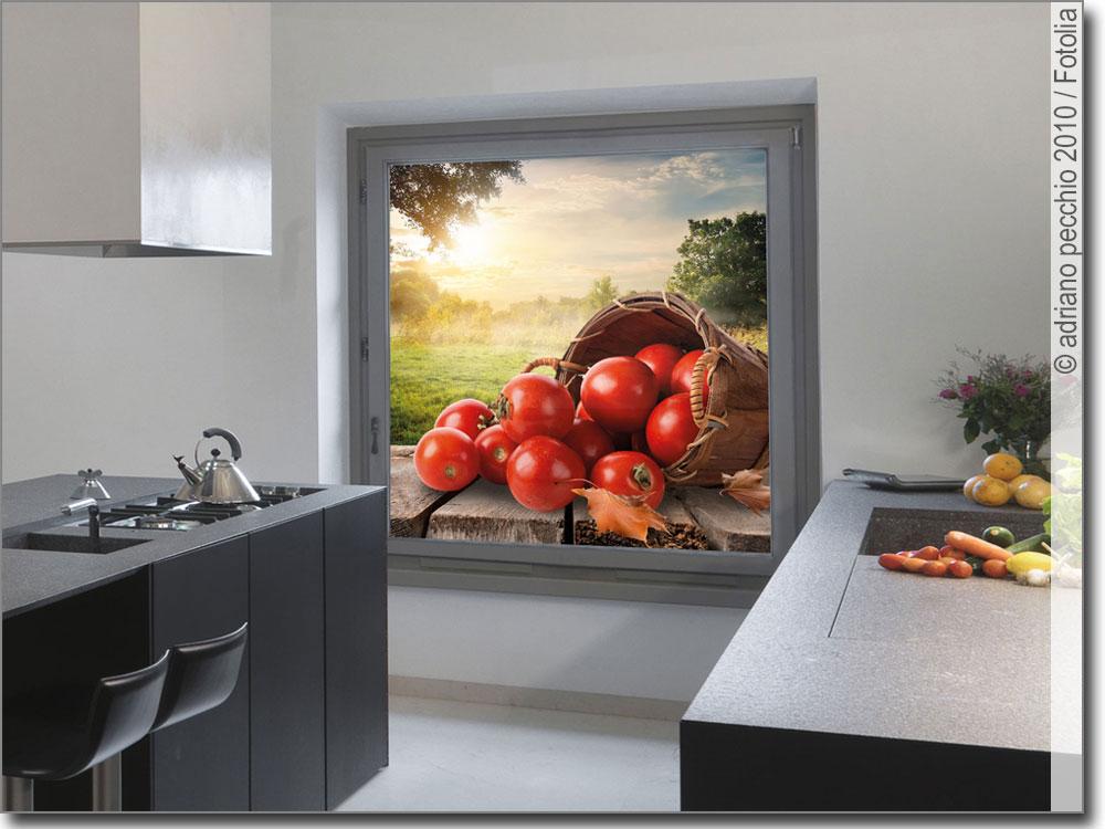 foto mit tomaten als fensterfolie f r die k che. Black Bedroom Furniture Sets. Home Design Ideas