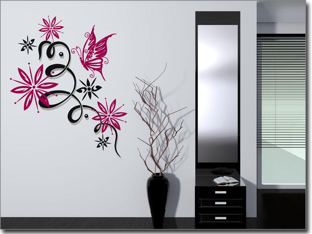mehrfarbiges wandtattoo schmetterlingsdekor ornament. Black Bedroom Furniture Sets. Home Design Ideas