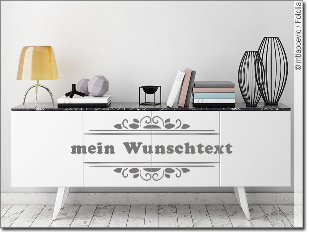 Möbeltattoo Wunschtext in Rahmen