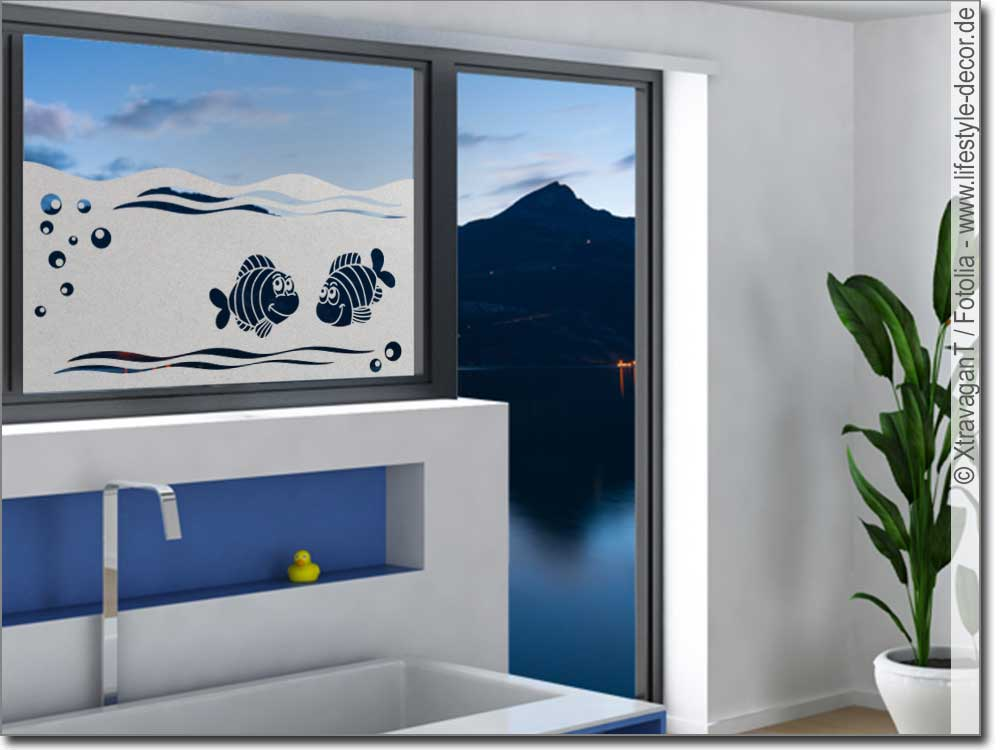 sichtschutz kleine fische fenster klebefolie f rs fensterfolie. Black Bedroom Furniture Sets. Home Design Ideas