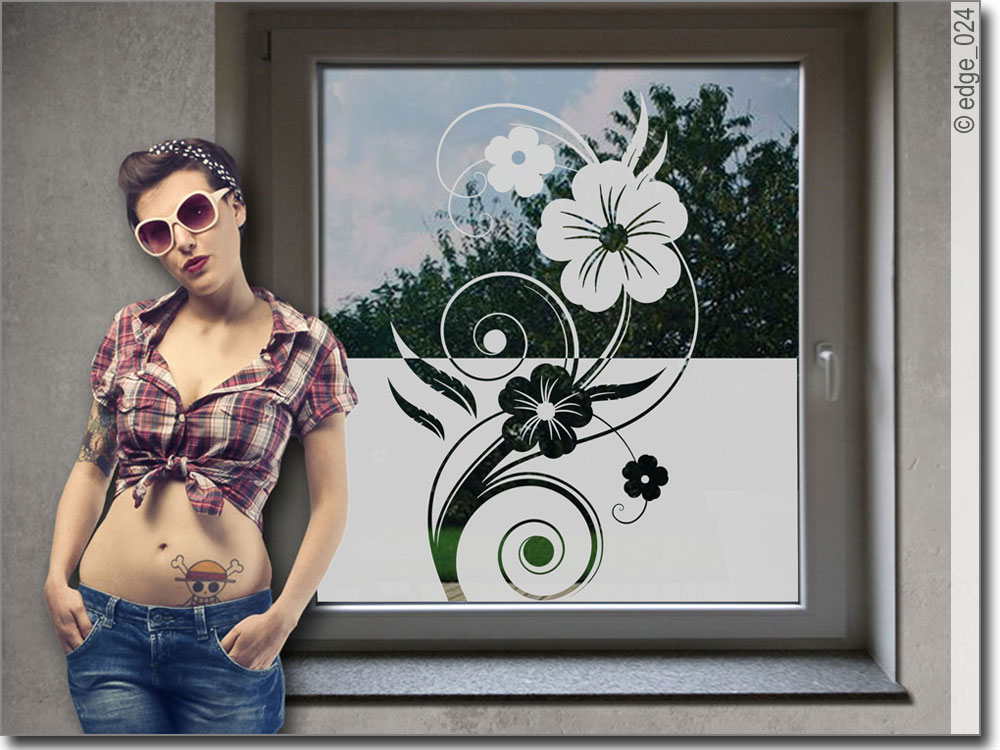 Sichtschutz Fr Fenster Im Wohnzimmer Ornament Feder