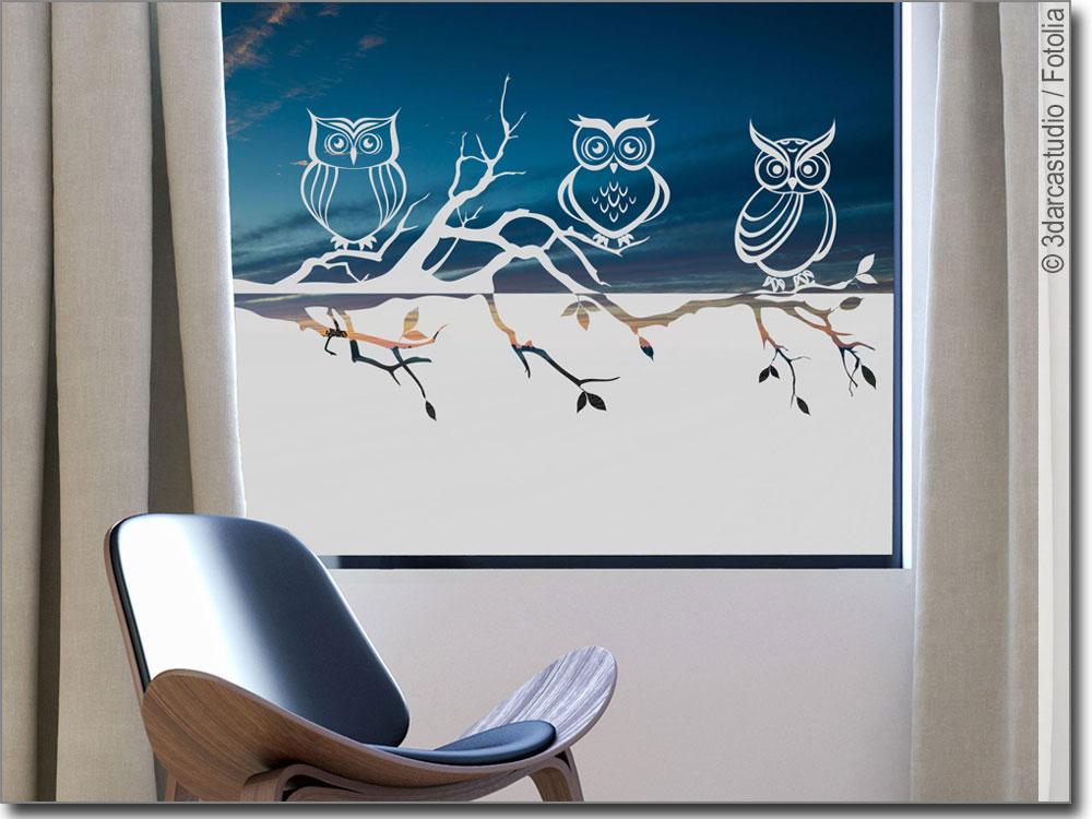 sichtschutzfolie eulen blickdichte klebefolie. Black Bedroom Furniture Sets. Home Design Ideas