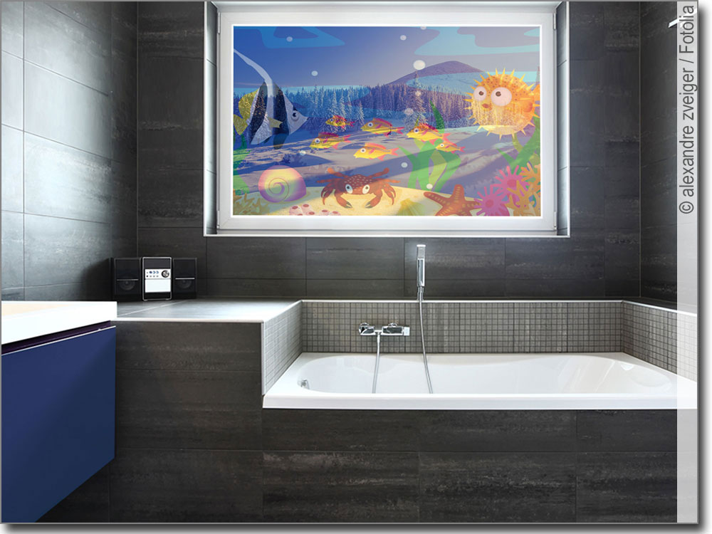 glasbild mit wasserwelt f r kinderzimmer oder bad. Black Bedroom Furniture Sets. Home Design Ideas