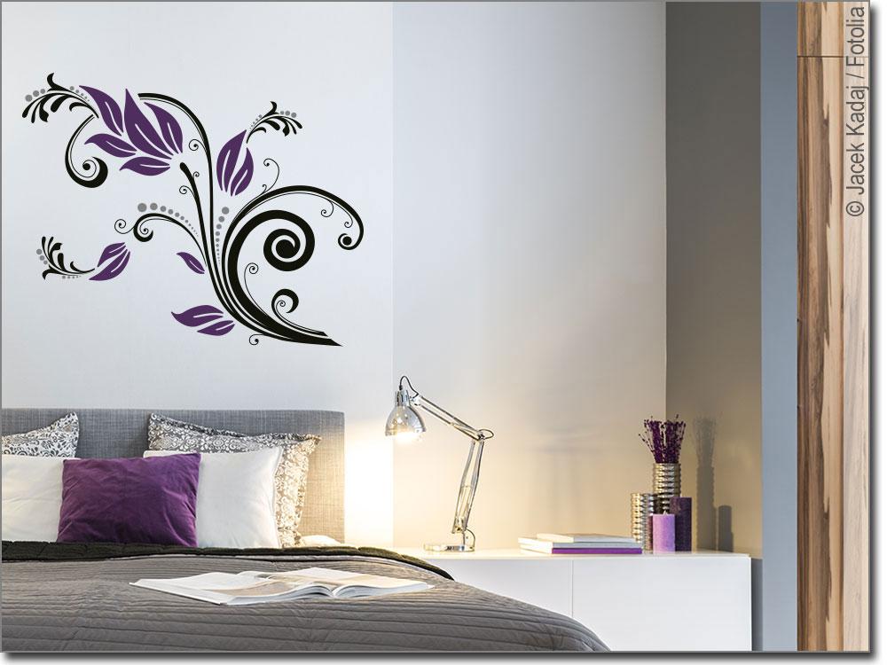 farbiges wandtattoo flower ornament wandaufkleber. Black Bedroom Furniture Sets. Home Design Ideas