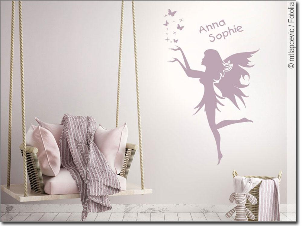 Kinderzimmer wandgestaltung feen  Wandbild Fee mit Wunschtext | Aufkleber Kinderzimmer