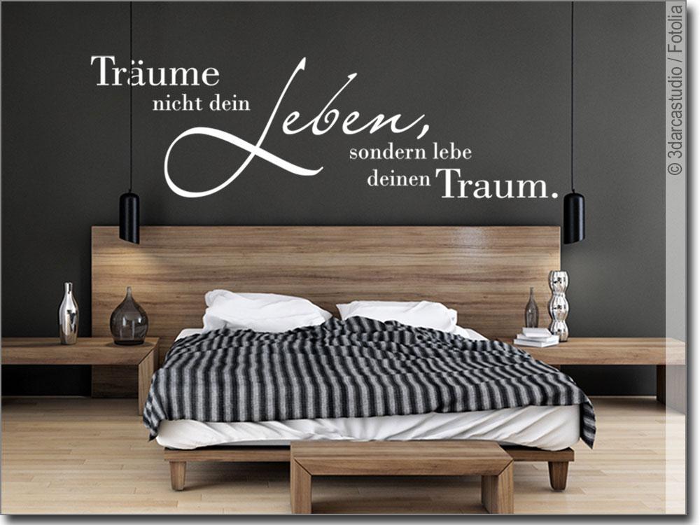 wandschrift tr ume nicht dein leben wandtattoo. Black Bedroom Furniture Sets. Home Design Ideas