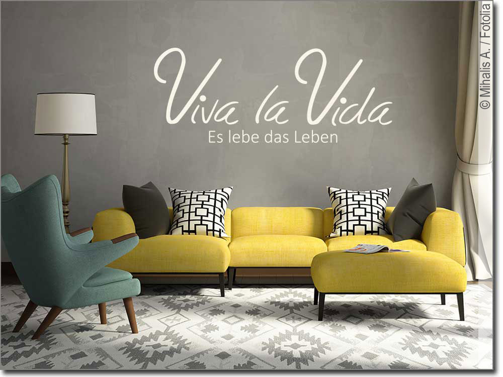 Wandspruch Viva la Vida   Wandtattoo zum Glücklichsein