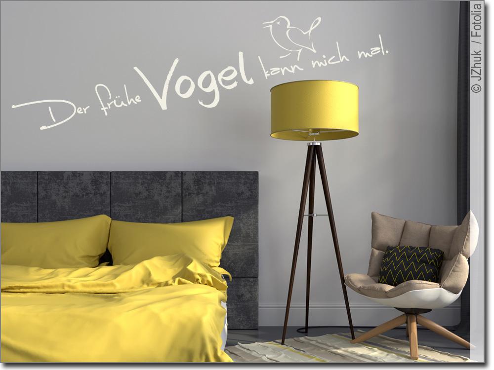 wandtattoo der fr he vogel spruch f r schlafzimmer. Black Bedroom Furniture Sets. Home Design Ideas